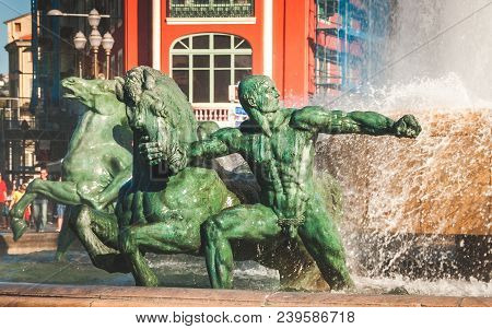 Nice, France - October 11, 2009: Bronze Sculpture Representing Mars Of Sun Fountain Or Fontaine Du S