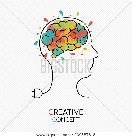 Creative Thinking Concept Outline Style Illustration With Human Head As Power Wire And Colorful Art