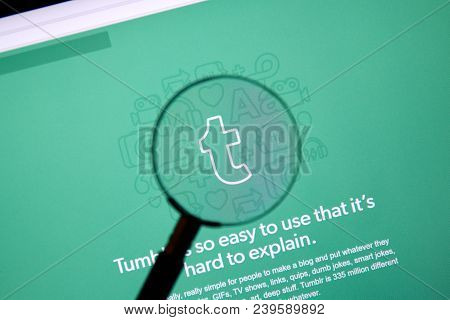 Montreal, Canada - March 10, 2018 : Tumblr Web Page Under Magnifying Glass. Tumblr Is A Microbloggin