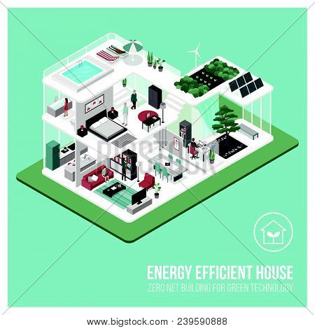 Contemporary Energy Efficient Isometric Eco House Cross Section And Room Interiors With People: Zero