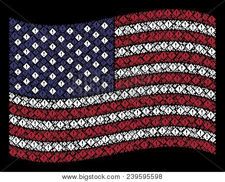 Error Pictograms Are Organized Into Waving Usa Flag Abstraction On A Dark Background. Vector Collage