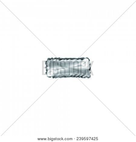 Silver style dash or hyphen line made of inflatable balloon 3D illustration