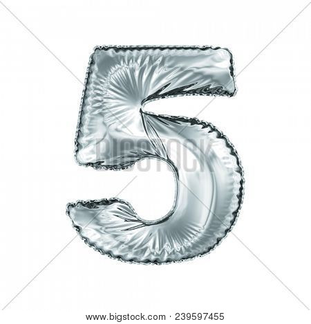 Number 5 five made of silver balloon isolated on a white background. 3d rendering