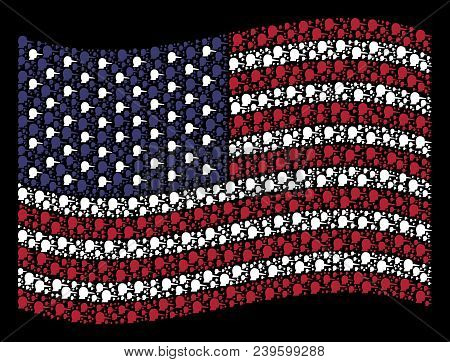 Lier Symbols Are Composed Into Waving Usa Flag Stylization On A Dark Background. Vector Composition