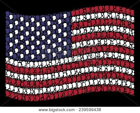 Man Head Profile Pictograms Are Grouped Into Waving United States Flag Abstraction On A Dark Backgro