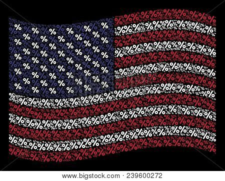 Percent Symbols Are Organized Into Waving Usa Flag Abstraction On A Dark Background. Vector Collage