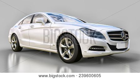 White Mercedes Benz Cls Coupe On A Gray Background. 3d Rendering
