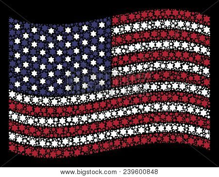 Six Pointed Star Symbols Are Composed Into Waving Usa Flag Abstraction On A Dark Background. Vector