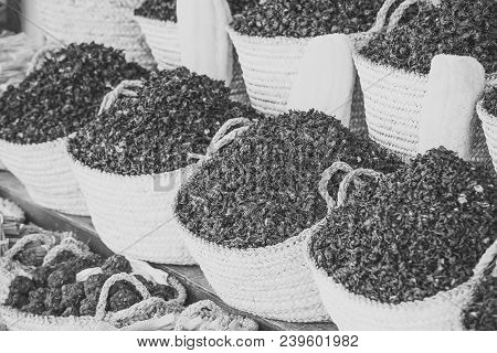 Dry Herb Hibiscus For Tea In Baskets. Arabic Herbs On Traditional Bazaar. Natural Organic Herbs. Hib