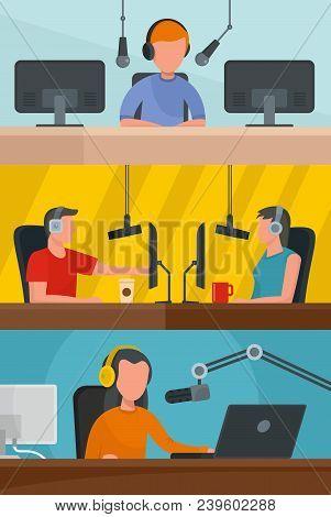 Radio Station Music News Broadcasting Banner Concept Set. Flat Illustration Of 3 Radio Station Music