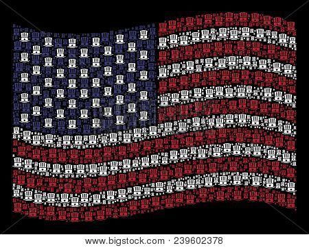 Uncle Sam hat icons are combined into waving USA flag abstraction on a dark background. Vector composition of USA state flag is organized with Uncle Sam hat elements. poster