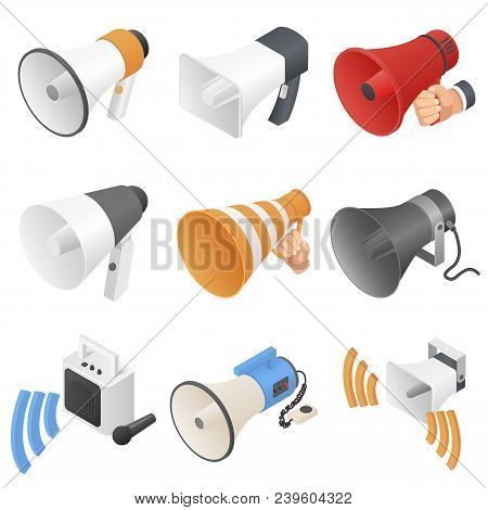 Megaphone Loud Speaker Icons Set. Isometric Illustration Of 9 Megaphone Loud Speaker Vector Icons Fo