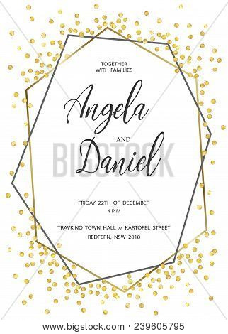 Golden Dots Wedding Invitation Invite Save The Date Template Geometric And Gray