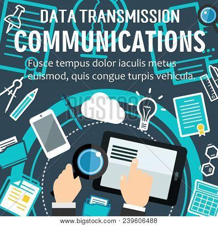 Digital Dta Transmission And Internet Communication Technology Poster. Vector Flat Design Of Cloud D
