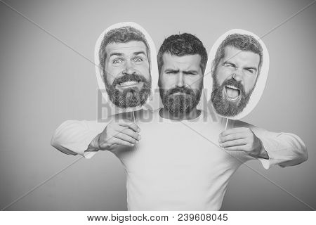 Guy Or Bearded Man On Grey Background. Man With Long Beard And Mustache. Feeling And Emotions. Hipst