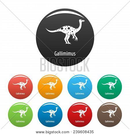 Gallimimus Icon. Simple Illustration Of Gallimimus Vector Icons Set Color Isolated On White