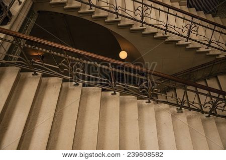 Brussels, Central Belgium - July 04, 2017. Stone And Iron Staircase In Art Nouveau Style At Brussels