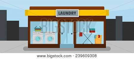 Laundry Building Banner Horizontal. Flat Illustration Of Vector Laundry Building Banner Horizontal F