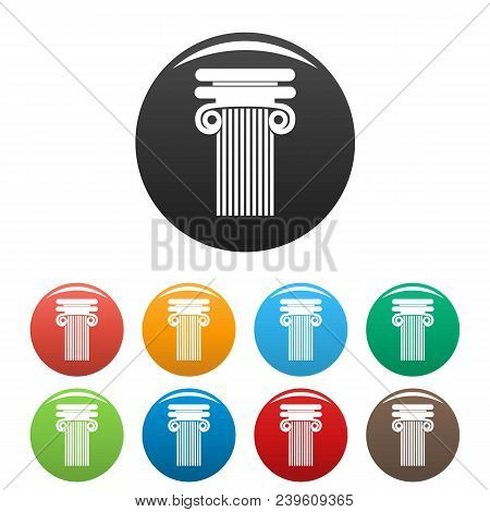 Column With Curl Icon. Simple Illustration Of Column With Curl Vector Icons Set Color Isolated On Wh