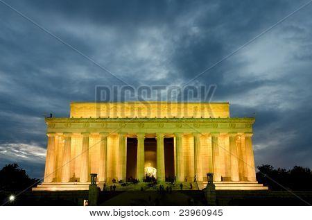 Abraham Lincoln Memorial in night, Washington DC USA