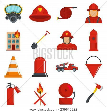 Fire Fighter Icons Set. Flat Illustration Of 16 Fire Fighter Vector Icons Isolated On White