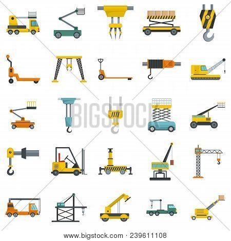 Lifting Machine Equipment Icons Set. Flat Illustration Of 25 Lifting Machine Equipment Cargo Vector