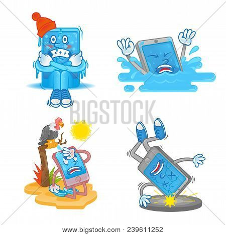 Good Set Digital Icon With Different Smartphone Gadget Tablet Mobile Problem Situation   Happened Wi