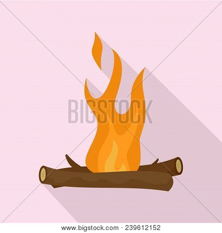 Camp Fire Icon. Flat Illustration Of Camp Fire Vector Icon For Web Design