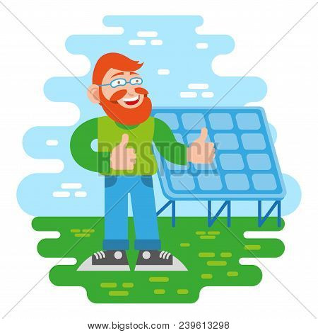 One Young Cute Happy Smile Fun Redhead Man Hipster With Good Beard From Eco City Stand Near Solar En