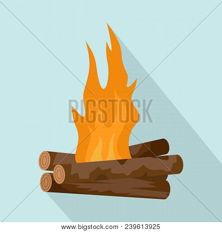Log Cabin Fire Icon. Flat Illustration Of Log Cabin Fire Vector Icon For Web Design