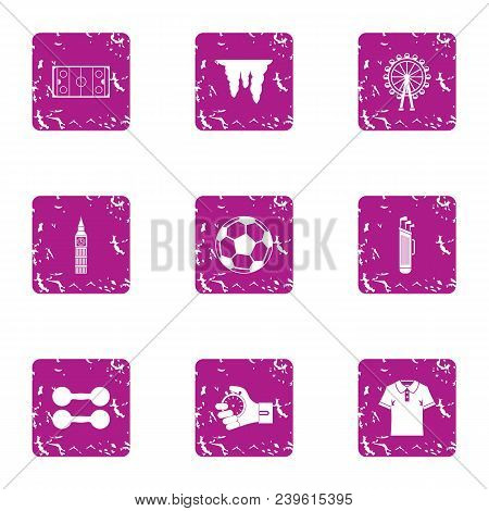 Sport Commerce Icons Set. Grunge Set Of 9 Sport Commerce Vector Icons For Web Isolated On White Back