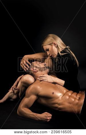 Love, Family Trust And Romance. Sensual Woman With Macho Sportsman On Black. Erotic Games, Beauty, F