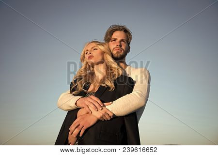 Family Couple Of Man And Sexy Girl, Trust. Muscular Man And Woman With Long Blond Hair, Love. Love A