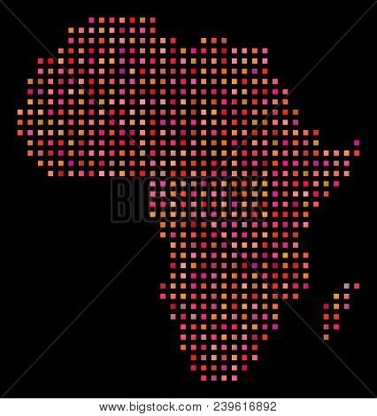 Pixelated Africa Map. Vector Geographical Map In Red Color Tinges On A Black Background. Abstract Pa