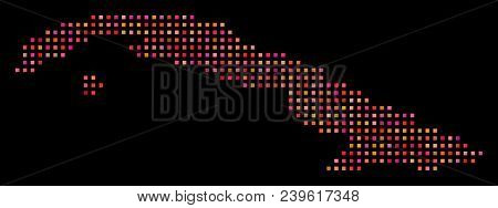 Cell Cuba Map. Vector Geographical Plan In Red Color Variations On A Black Background. Abstract Mosa