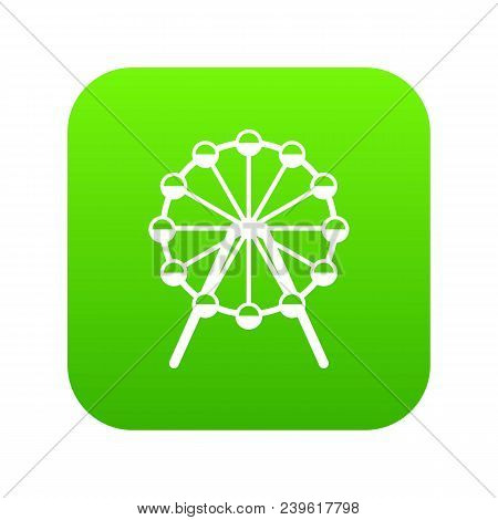 Singapore Flyer, Tallest Wheel In The World Icon Digital Green For Any Design Isolated On White Vect