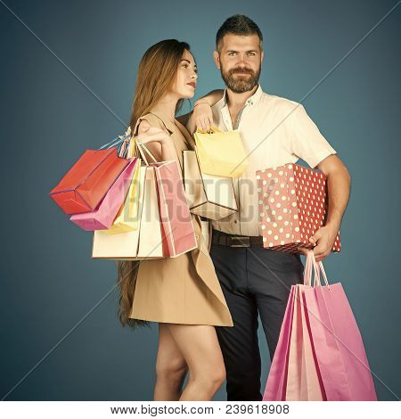 Shopping And Sale. Fashion Shopaholic Couple. Black Friday, Happy Holiday, Relations. Couple In Love