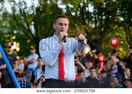 Vladivostok, Russia - September 23, 2017:  Leader Of The Russian Opposition Alexei Navalny During  A