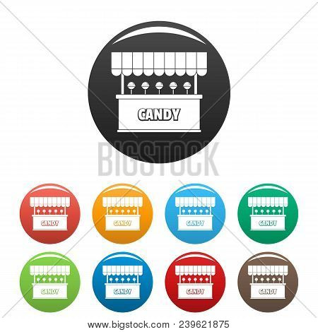 Candy Selling Icon. Simple Illustration Of Candy Selling Vector Icons Set Color Isolated On White