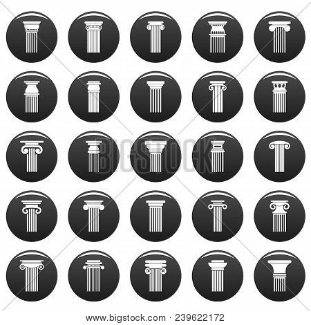 Ancient Columns Icons Set. Simple Illustration Of 25 Ancient Columns Vector Icons Black Isolated