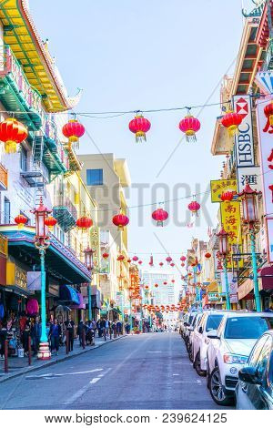 San Francisco - Apr 2, 2018: Red Lanterns Hang Along Busy Grant Avenue In The Heart Of San Francisco