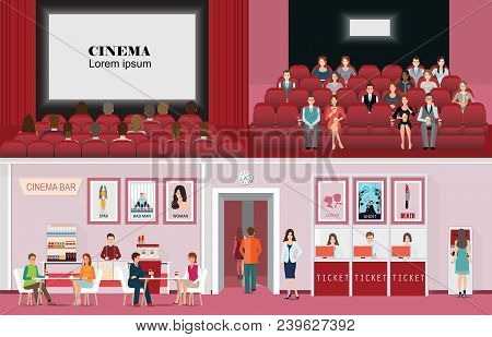 Cinema Banners With Purchase Ticket Cinema Hall Film And Audience, People Are Watching Film In The C