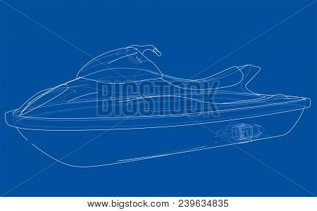 Jet Ski Sketch. Vector Rendering Of 3d. Wire-frame Style. The Layers Of Visible And Invisible Lines