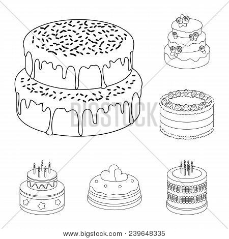 Cake And Dessert Outline Icons In Set Collection For Design. Holiday Cake Vector Symbol Stock  Illus
