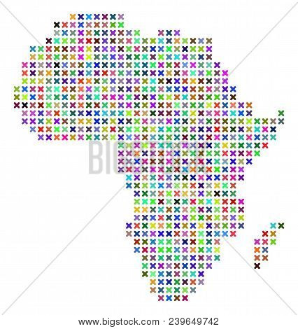 Africa Map. Vector Abstraction Of Geographic Plan. Regular Pattern Is Created Of X-cross Items In Di
