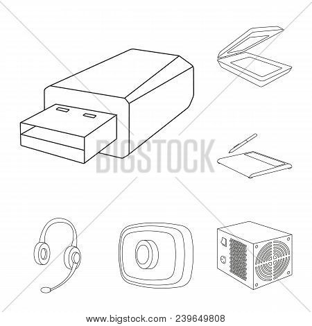 Personal Computer Outline Icons In Set Collection For Design. Equipment And Accessories Vector Symbo