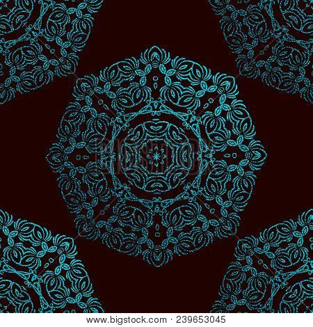 Blue Decorative Mandala. Cyan Vintage, Ethnic Element. Oriental Pattern, Vector Illustration For Wed