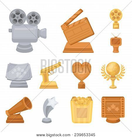 Film Awards And Prizes Cartoon Icons In Set Collection For Design. The World Film Academy Vector Sym