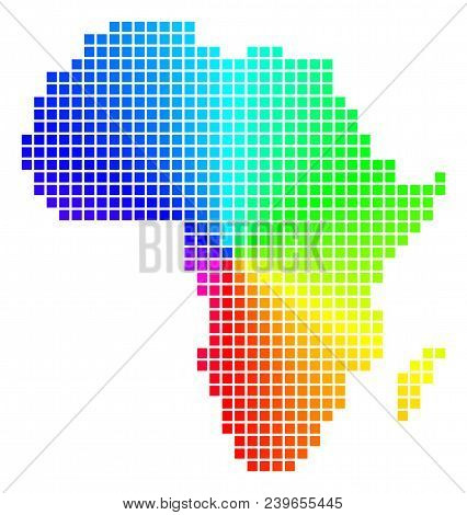 Spectrum Africa Map. Vector Pixelated Geographic Plan In Bright Spectrum Colors With Circular Gradie