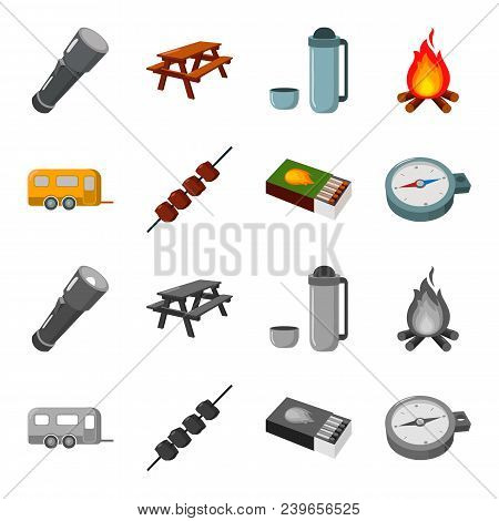 Trailer, Shish Kebab, Matches, Compass. Camping Set Collection Icons In Cartoon, Monochrome Style Ve